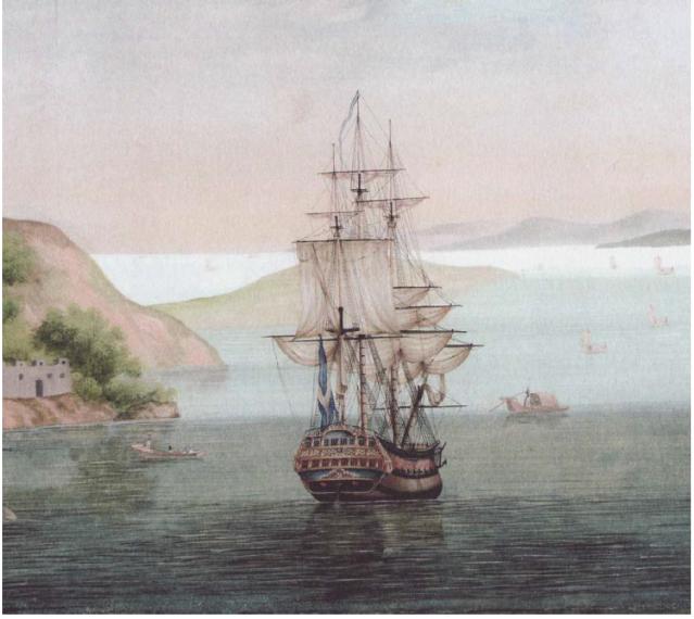 Cron Printz Gustaf, detalj ur en av F H af Chapmans gouacher från Skärva